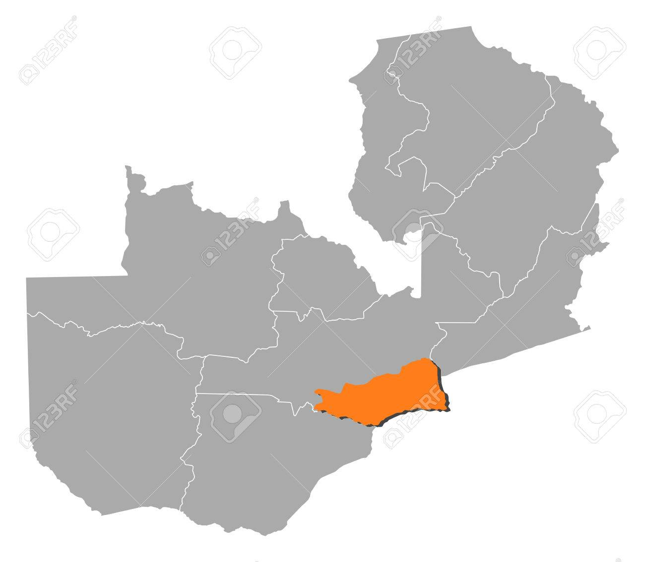 Map Of Zambia With The Provinces, Lusaka Is Highlighted By Orange ...
