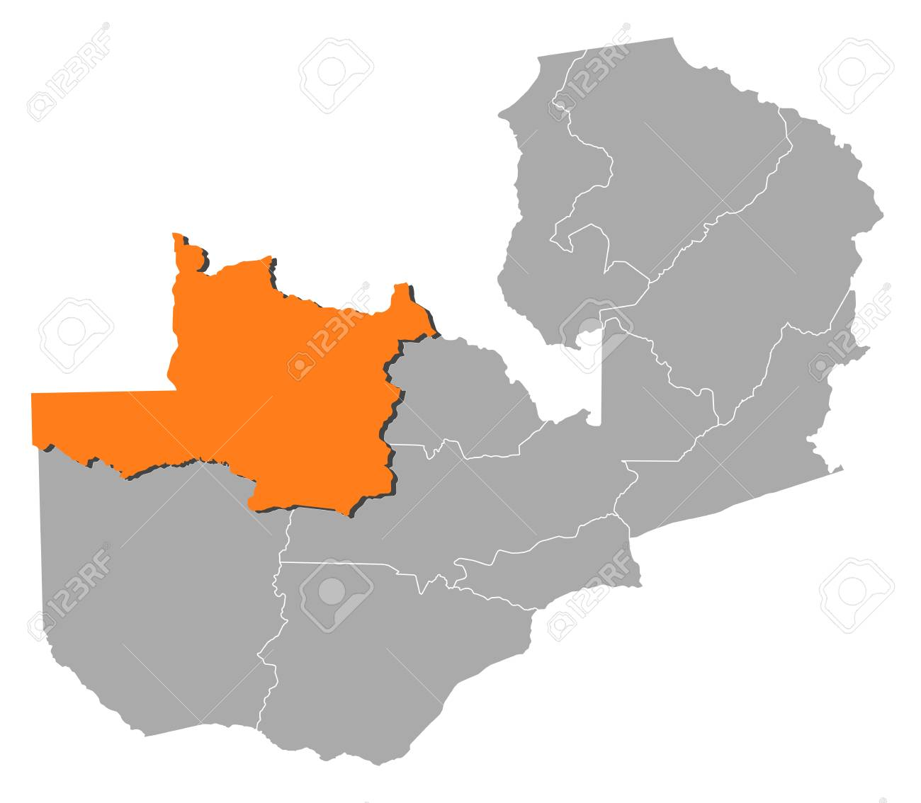 Map Of Zambia With The Provinces, North-Western Is Highlighted ...