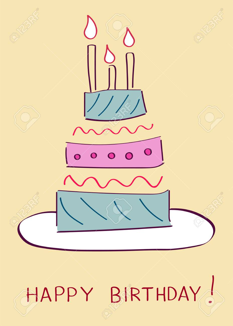Birthday Cake On Greeting Card Template Vector Illustration. Royalty ...