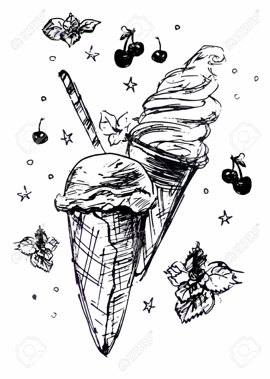 Ice Cream With Decoration Line Drawing Lizenzfrei Nutzbare