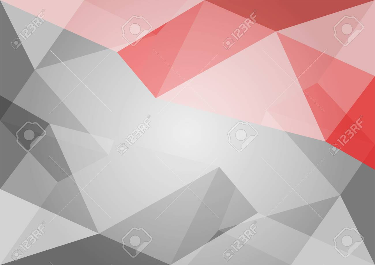 Abstract Polygon Grey And Red Background Black And White