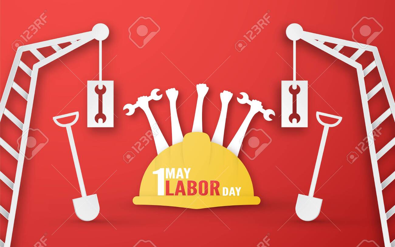 Happy Labor day on 1 May of years. Template design for banner, poster, cover, advertisement, website. Vector illustration in paper cut and craft style on red background. - 123921712