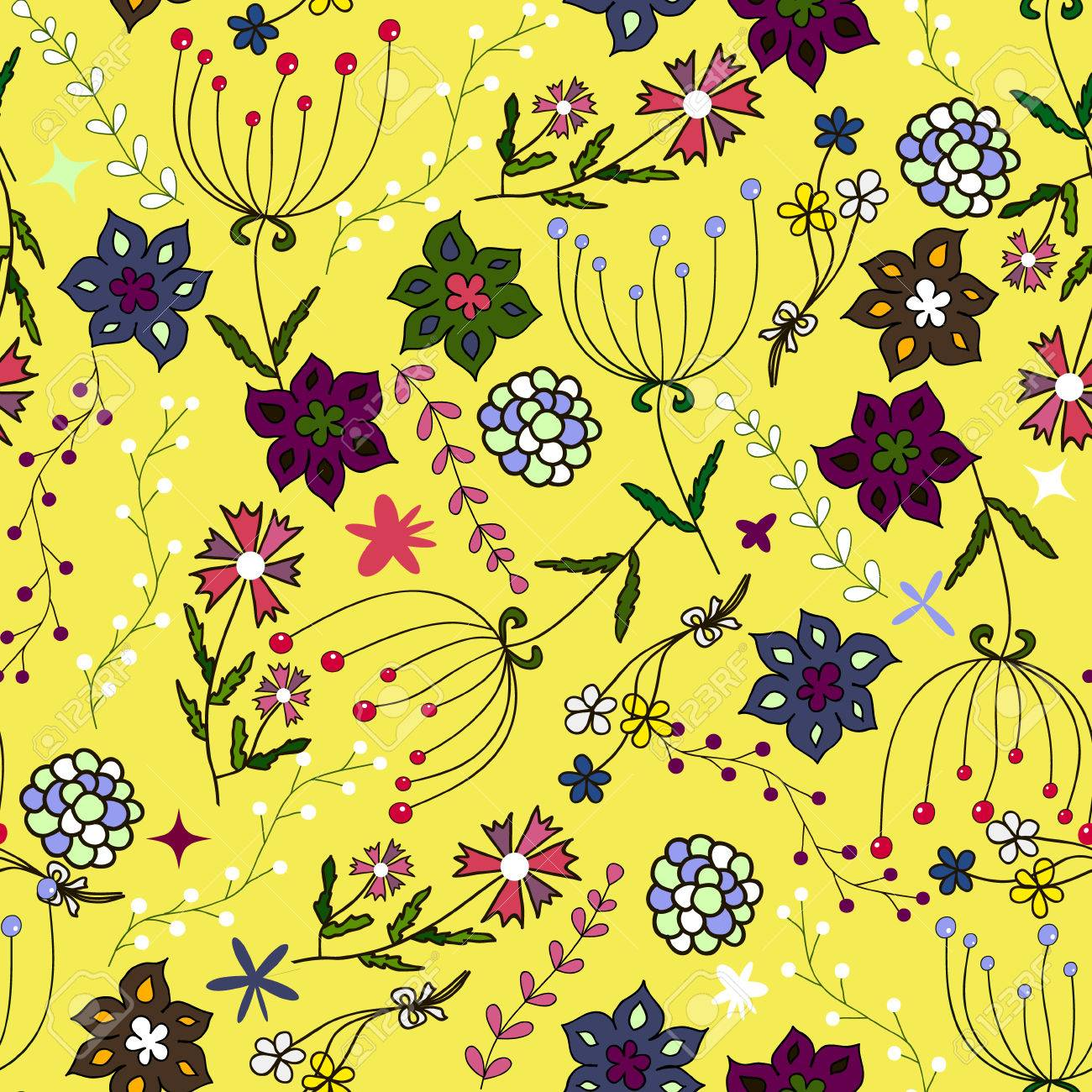 Kids seamless pattern. Seamless summer illustration, floral texture. Vector. Use for children's clothing, wrap, wallpaper for children, background, packaging, decoration and much more - 69055619