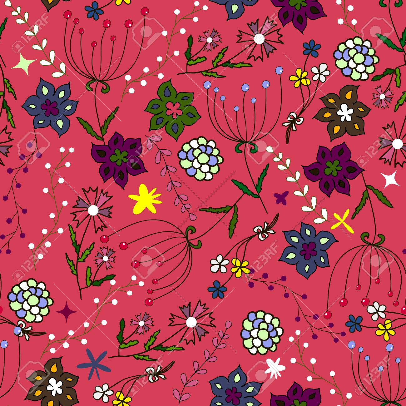 Kids seamless pattern. Seamless summer illustration, floral texture. Vector. Use for children's clothing, wrap, wallpaper for children, background, packaging decoration and much more - 69055644