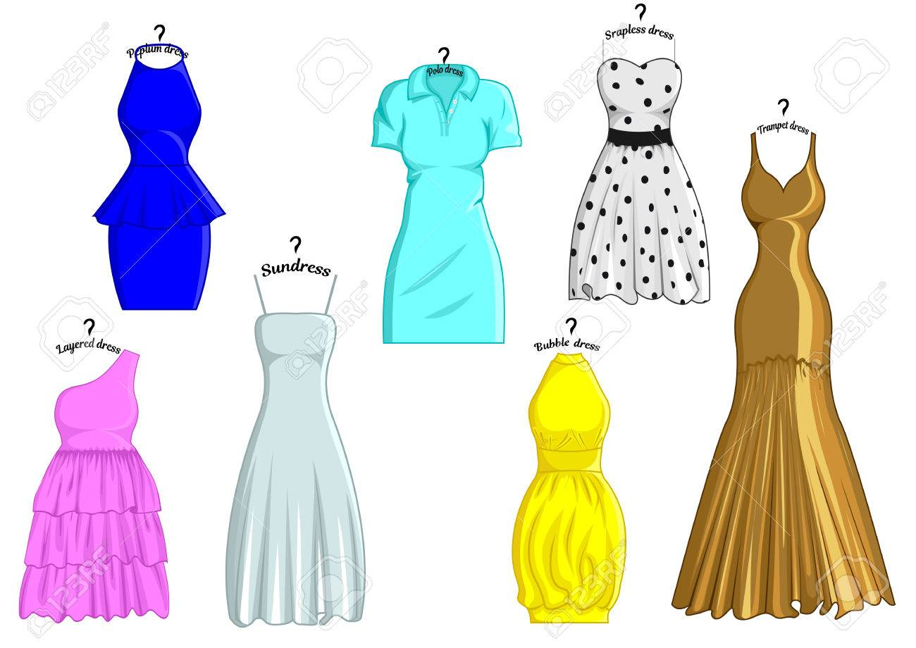 Set of different styles of dresses with names that are stylized..