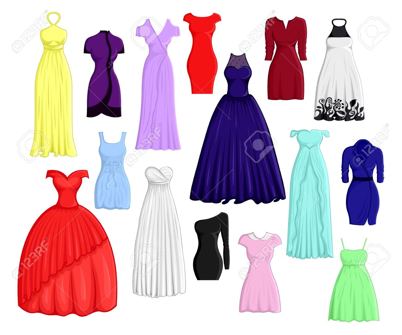 A set of dresses in different colors and styles - 137306918