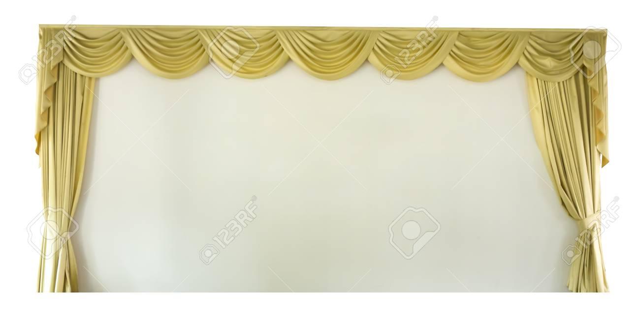 De Geïsoleerde Goud Gedrapeerde Gordijnen Van Het Theater Series ...