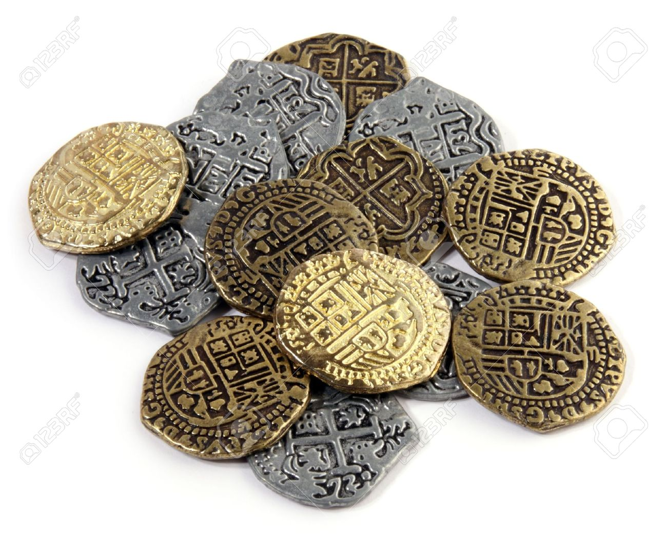 Pirate Coins : small pile of Doubloons and Reales