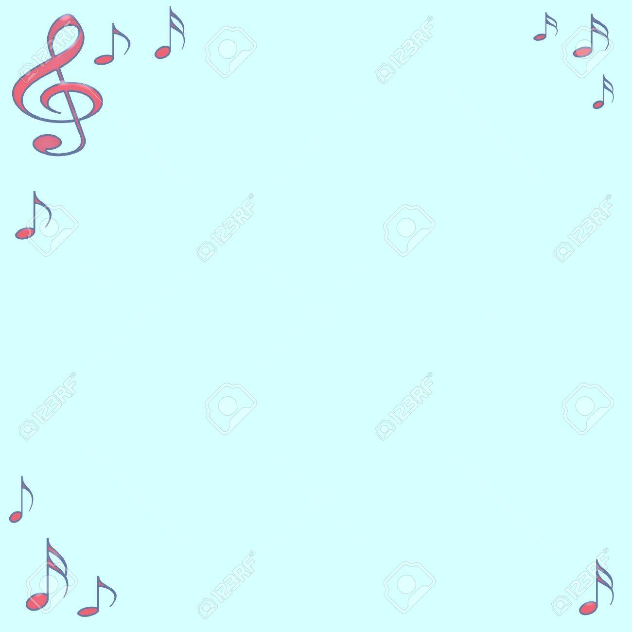 assorted abstract music notes border on blue background stock photo