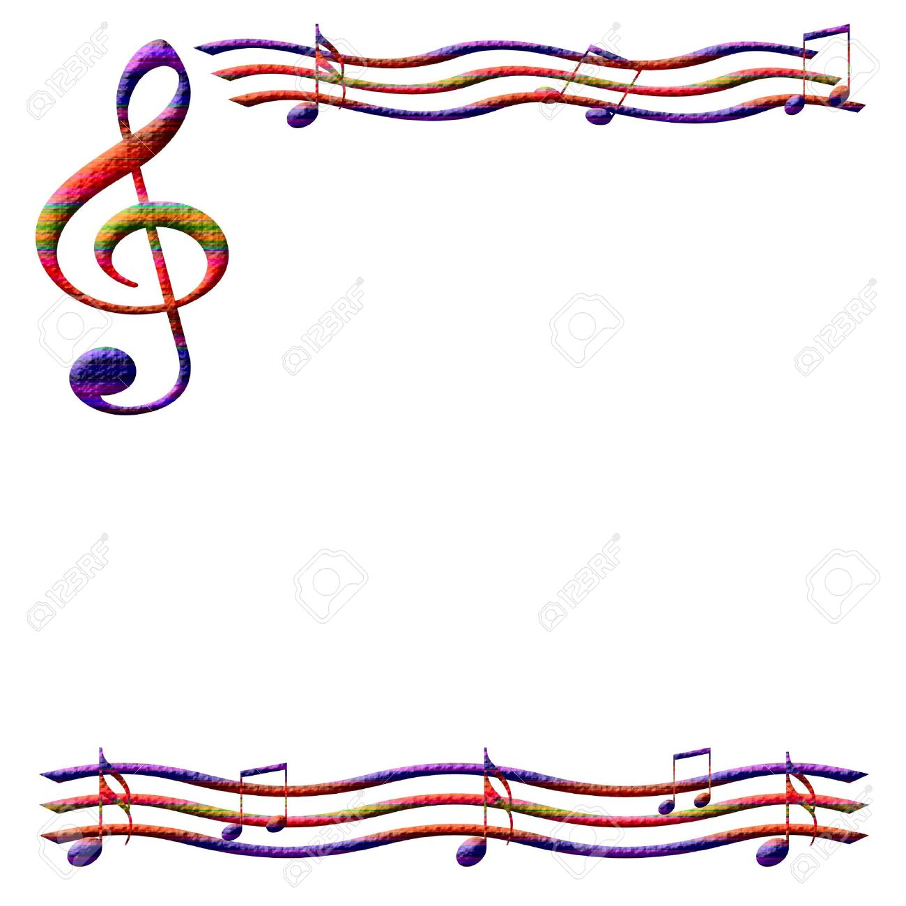 Colorful Music Notes Frame On White Background Illustrated Stock ...