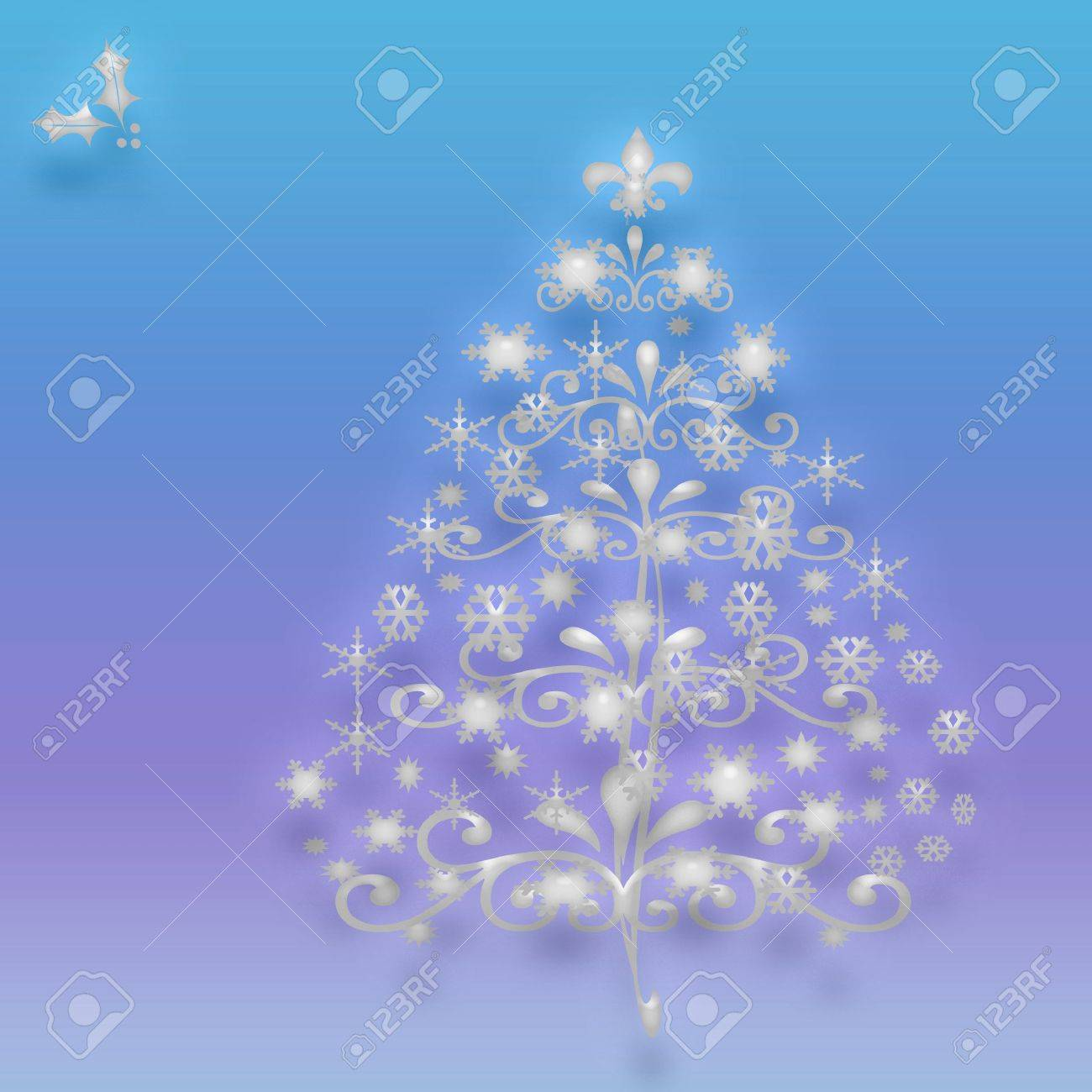 Crystal Christmas Ornaments.Crystal Christmas Tree With Ornaments On Gradient Background