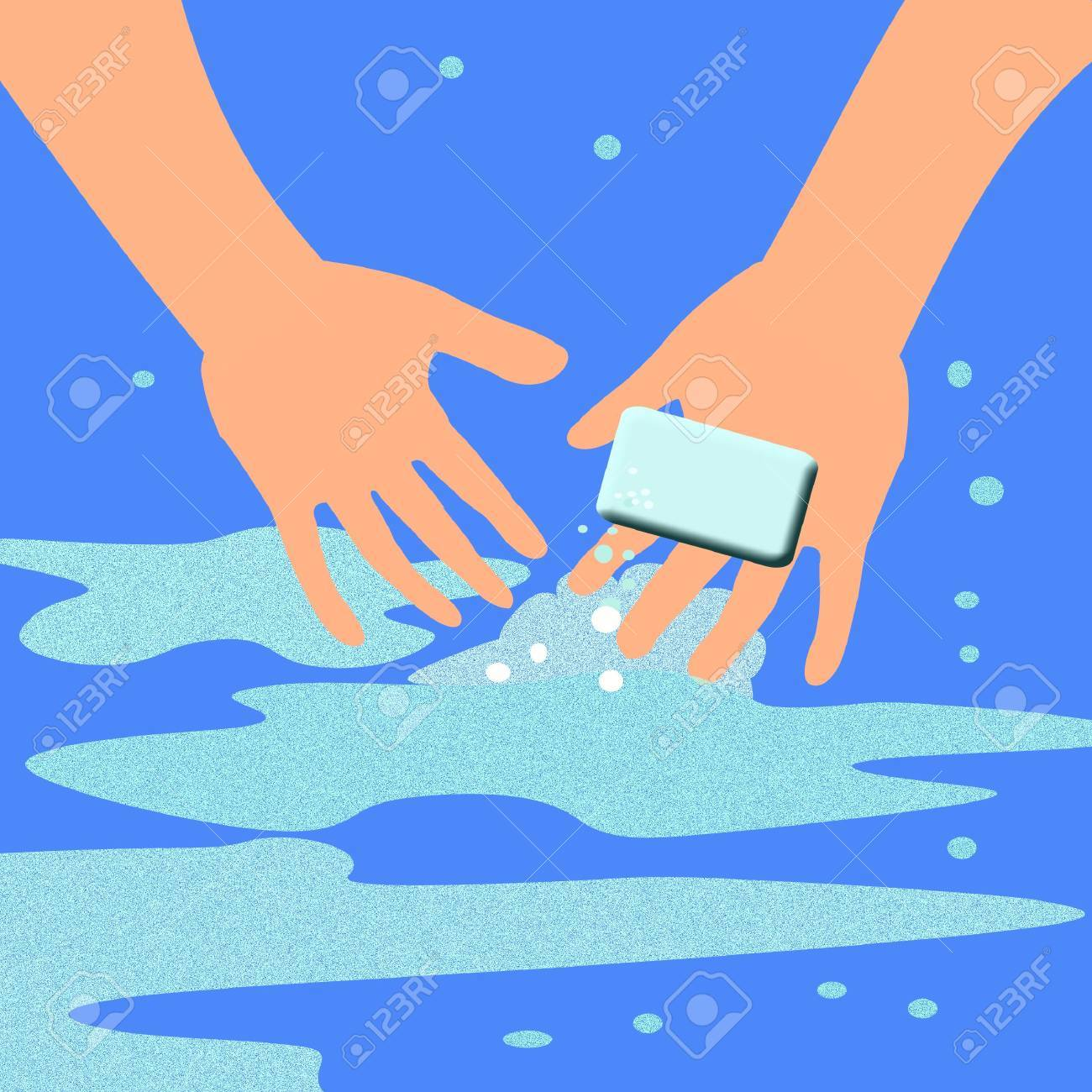 hand at work washing up with a bar of soap Stock Photo - 2166547