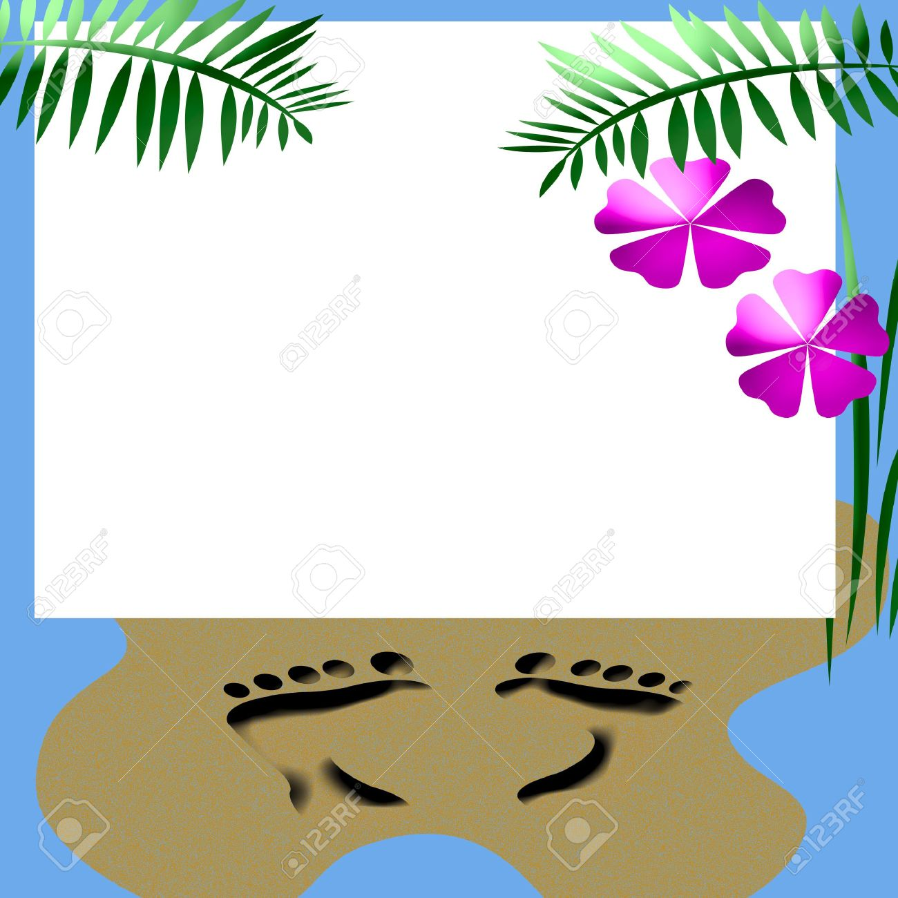 Beach Party Invitation Blank Center With Beach Accents Stock Photo ...