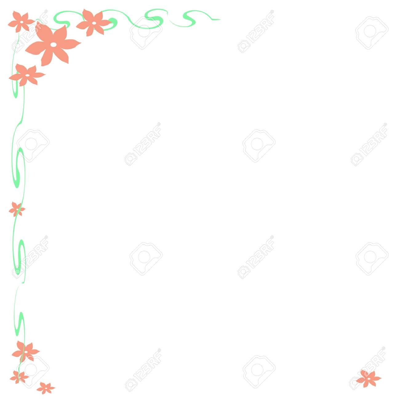 Rosa Blumen Und Reben Rahmen Mit Weißem Hintergrund Lizenzfreie ...