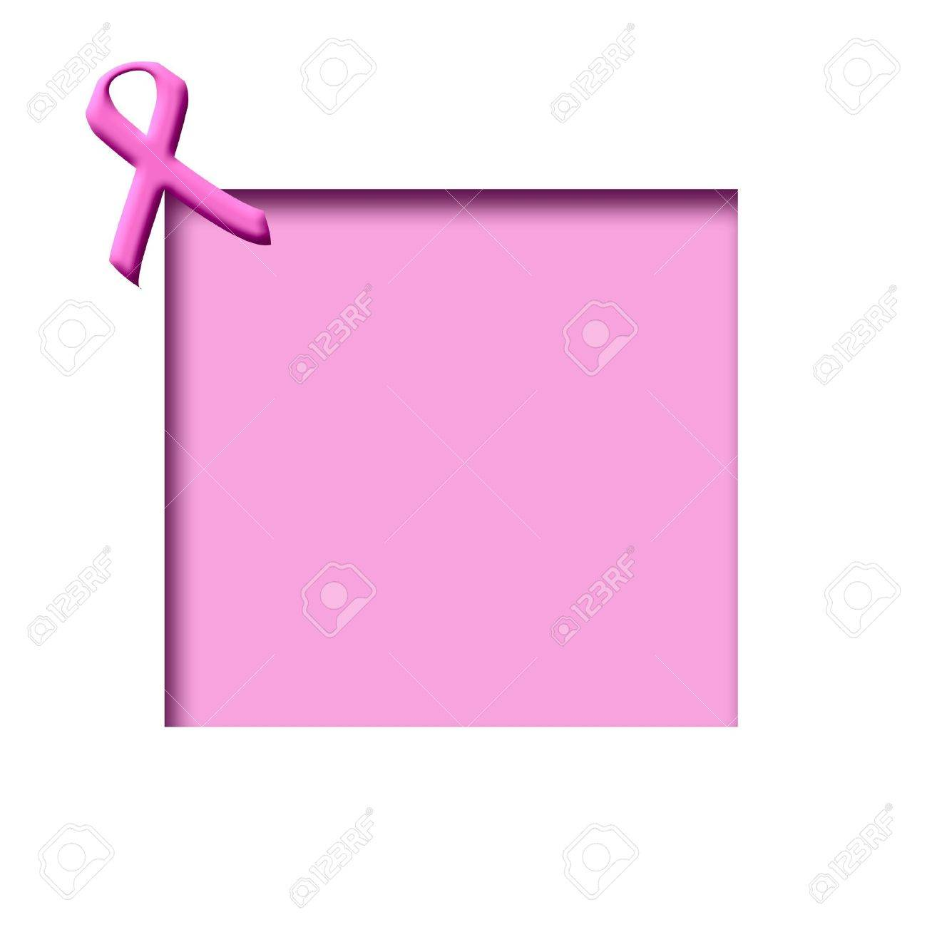 Breast Cancer Awareness Pink Ribbon On Cutout Frame Stock Photo