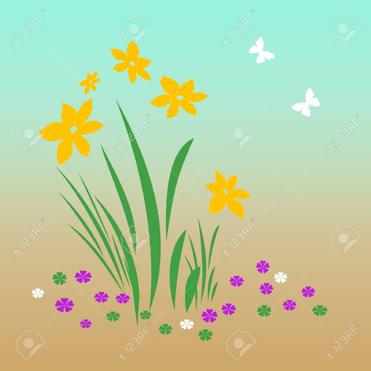 bright spring flowers and butterflies on   background illustration Stock Photo - 2390897