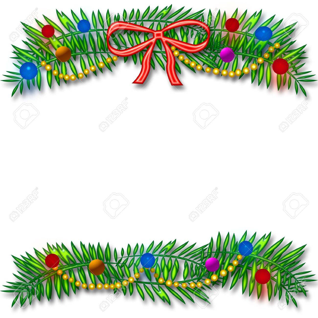 Christmas ornament frames - Picture Frame Christmas Ornaments Christmas Frame Colorful Ornaments And Beads Around Blank Center Stock Photo