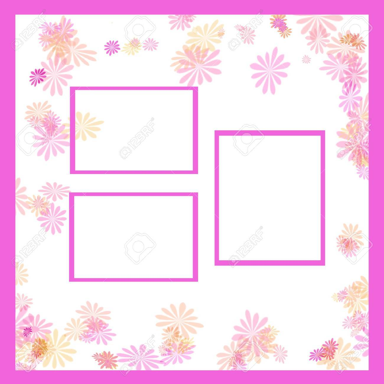 Spring Pastel Flowers And Vines Frame Around Photo Cutouts Stock ...