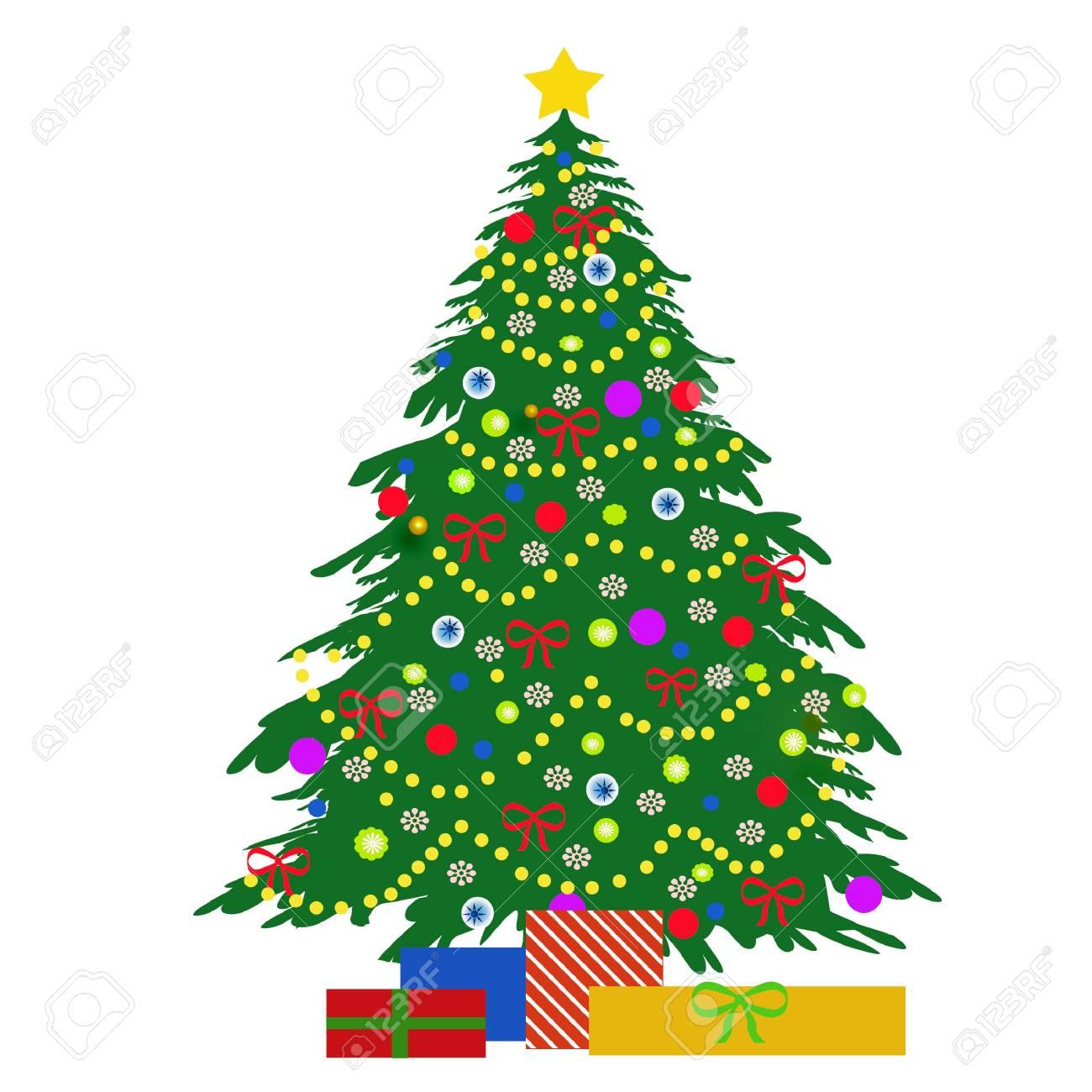standard bild weihnachtsbaum schmuck und geschenke illustration auf weiss