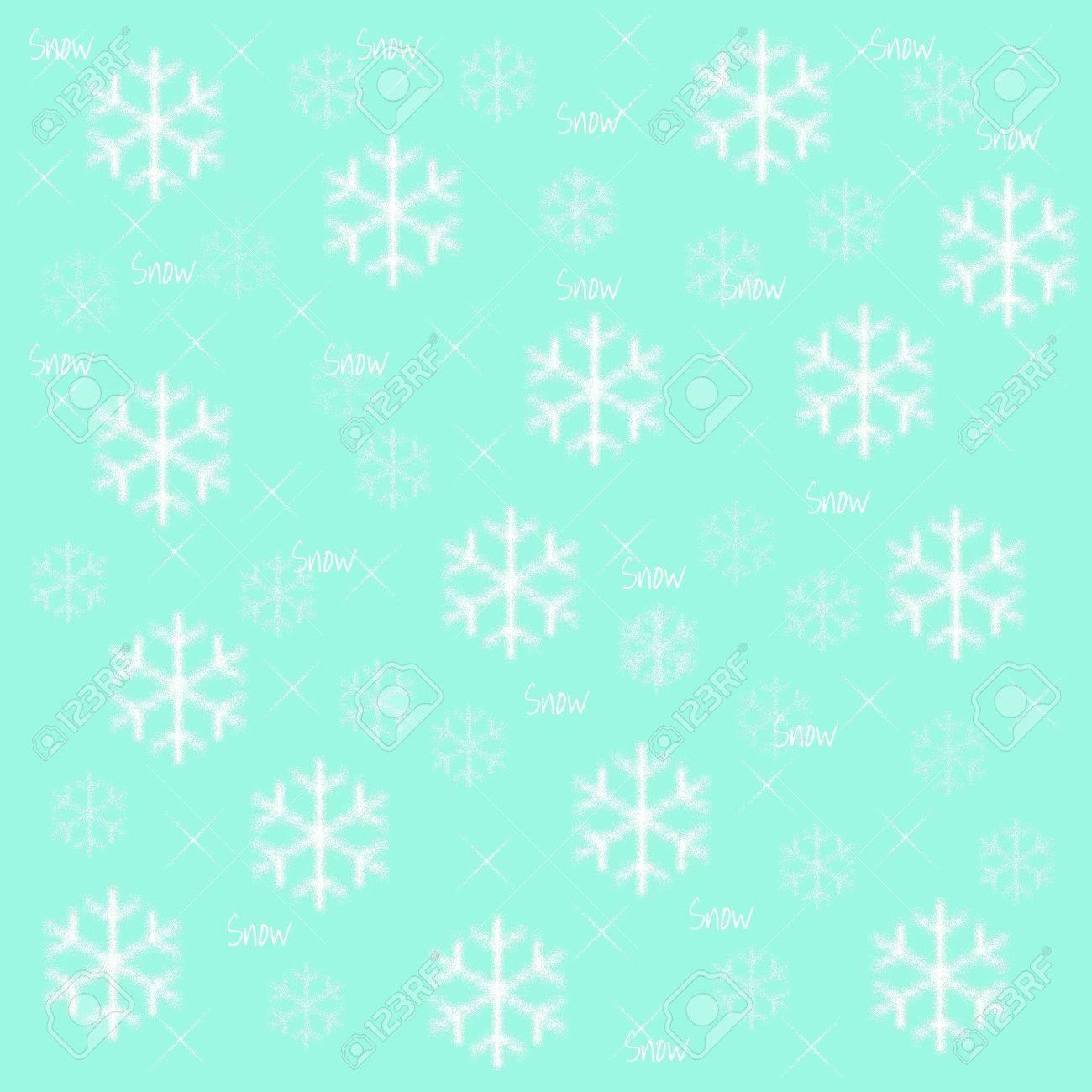 水色の背景の冬イラスト雪の結晶