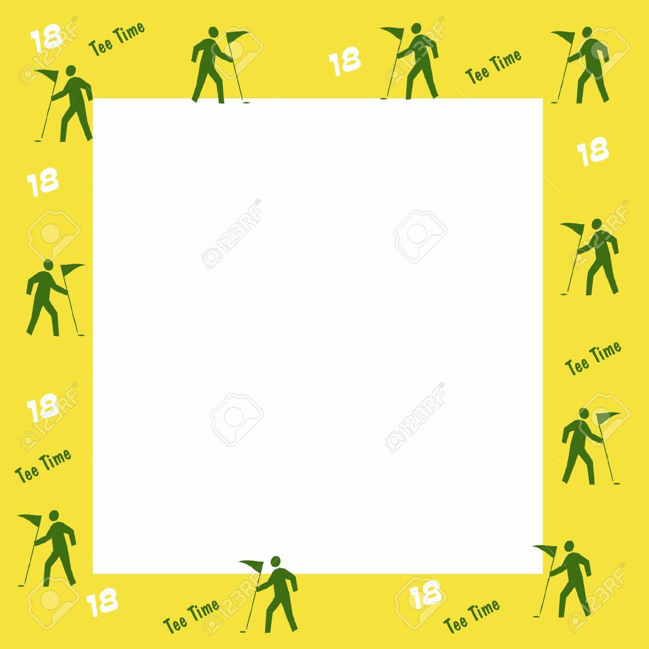 Green Golf Flag And Yellow Frame Scrapbook Illustration Stock Photo ...