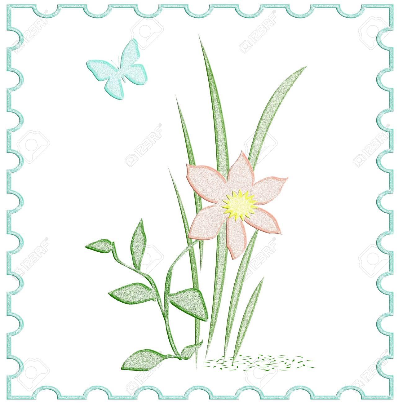 Color Rosado Florecen Flores Y Mariposas Ilustración De Marco De ...