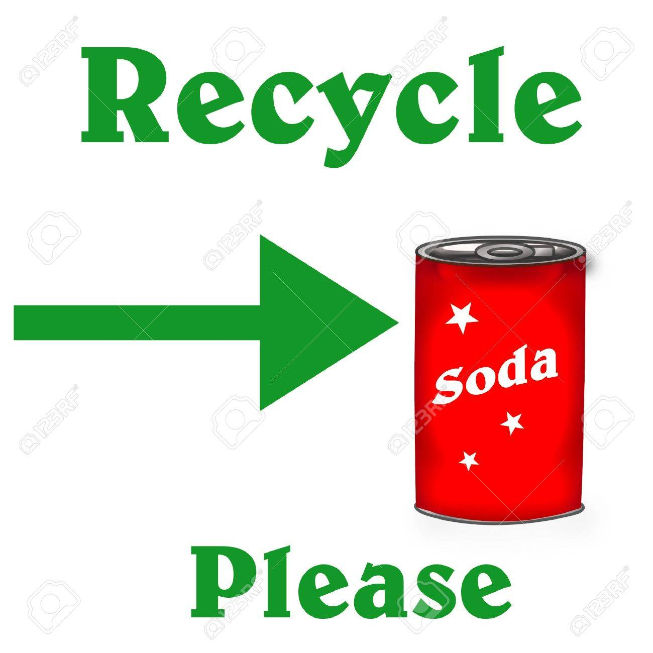 green recycle poster red soda can on white illustration Stock Photo - 7601523