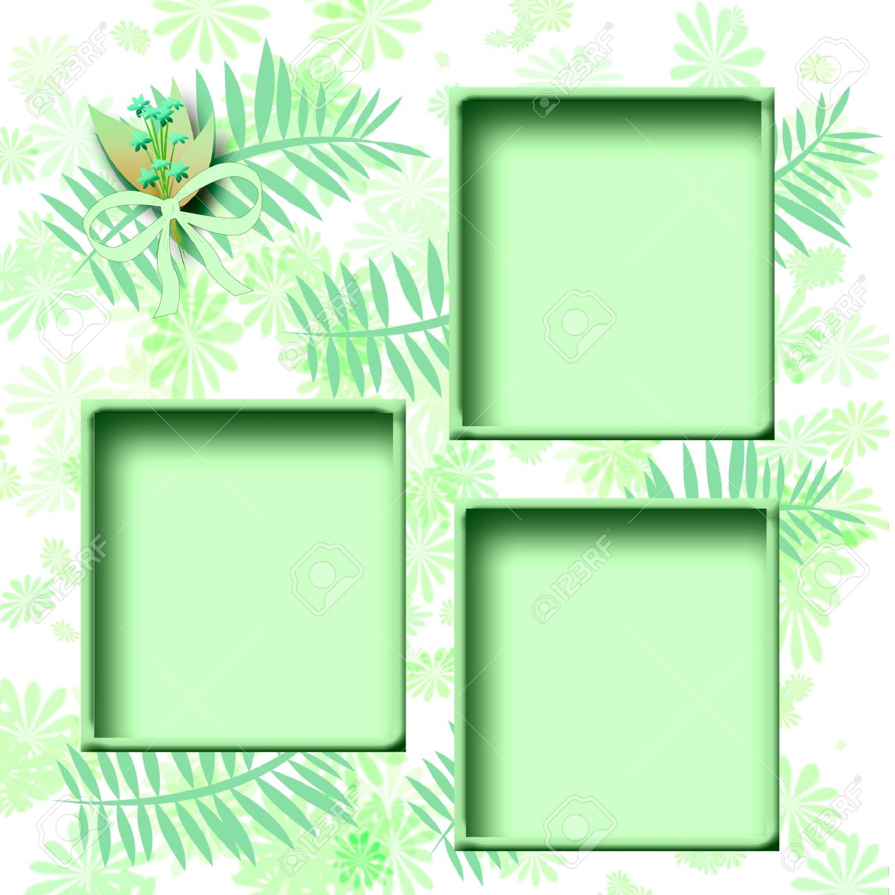 illustration aqua scrapbook page cutouts frames on floral illustration