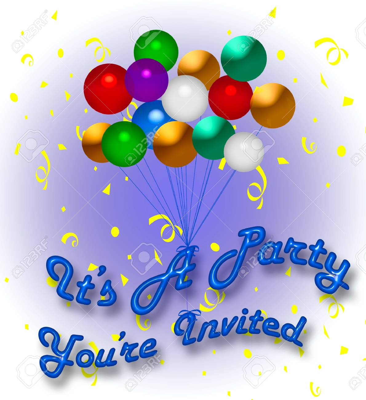 bunten luftballons und konfetti party einladung illustration, Einladungen
