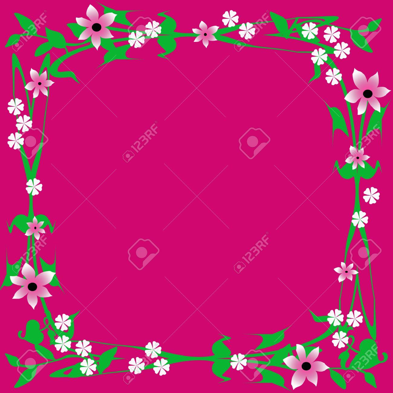 1bf0029331325 Flores de color rosa y hojas de cuadro en el fondo fucsia ilustración Foto  de archivo
