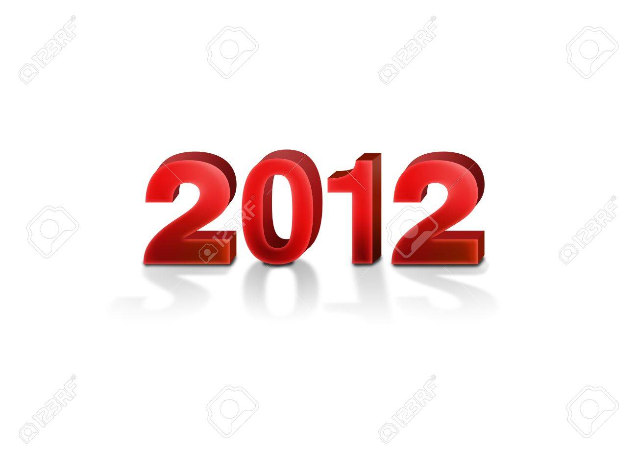 2012 new year in bold red 3d fonts with soft shadow isolated