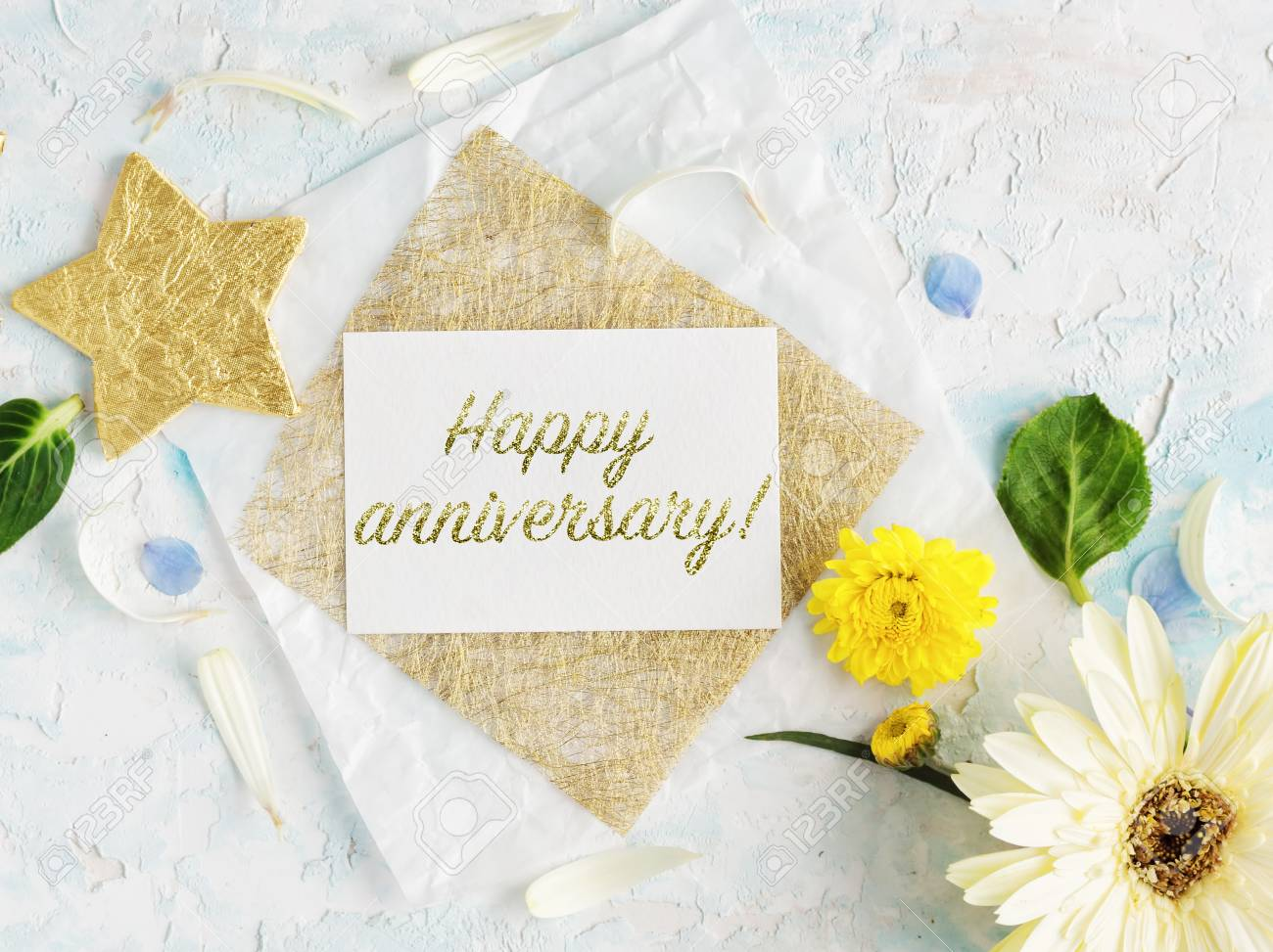 Bright Summer Flowers Mock Up With Craft Paper And Gold Stars