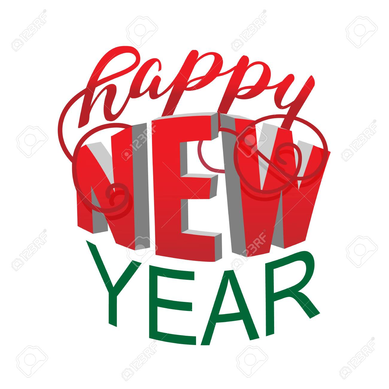 happy new year red and green creative lettering on white royalty free cliparts vectors and stock illustration image 122489434 happy new year red and green creative lettering on white