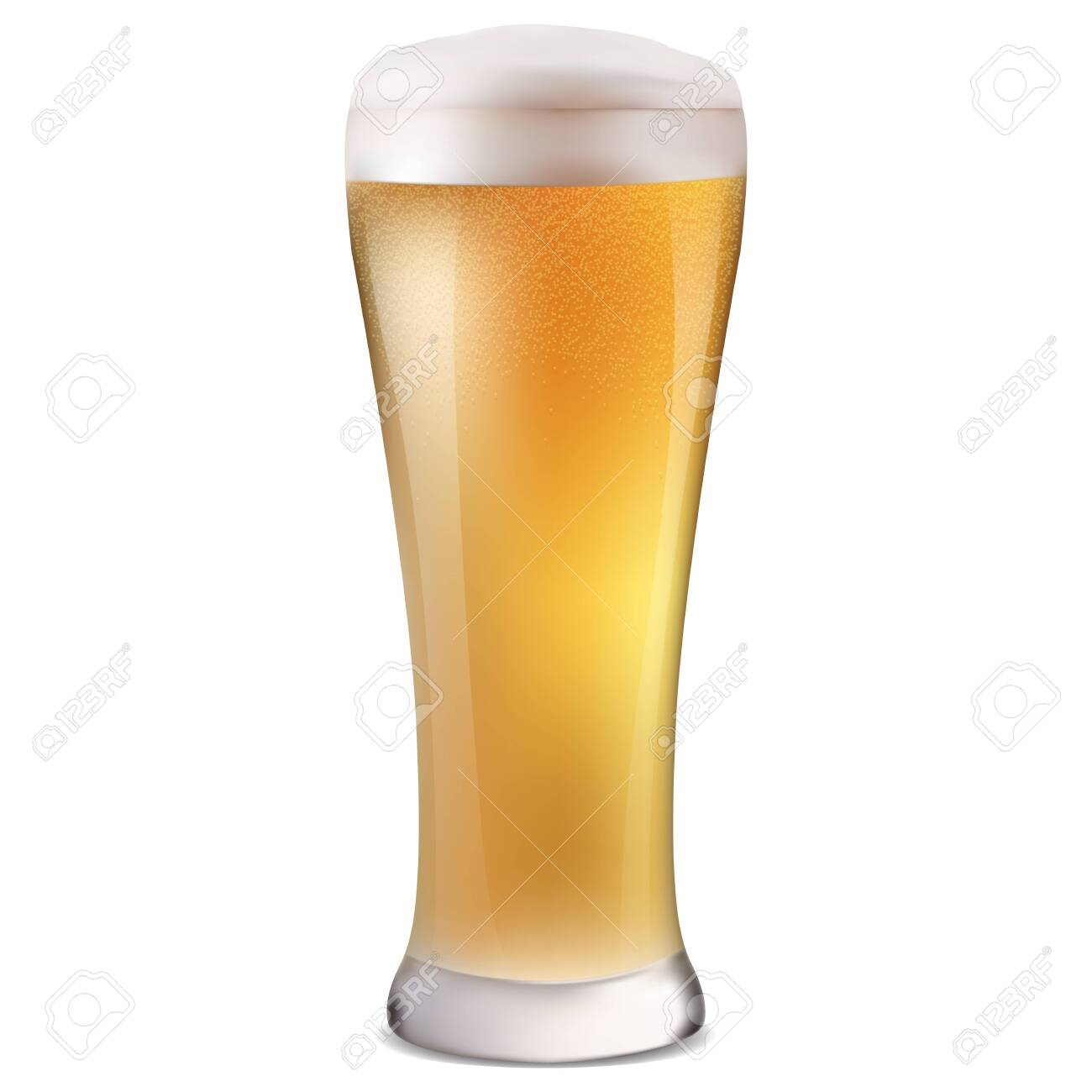realistic glass of cold light beer with bubbles and foam isolated vector illustration - 122489438