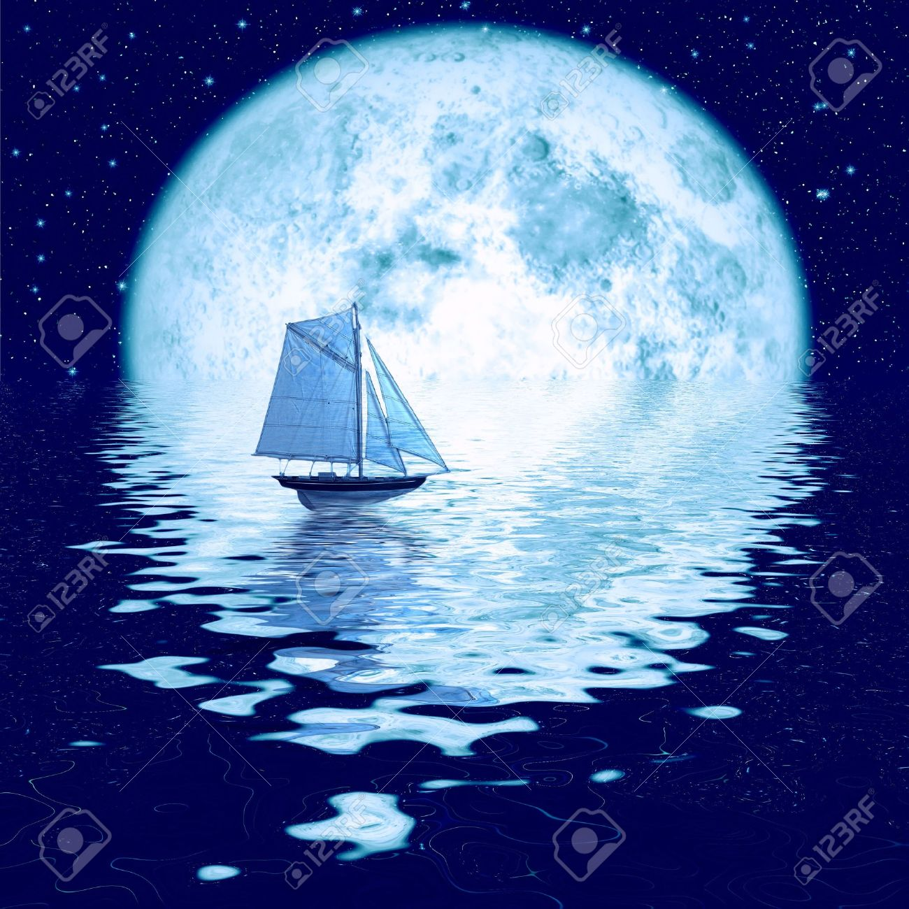 Beautiful full moon under ocean with sailing ship Stock Photo - 4555263