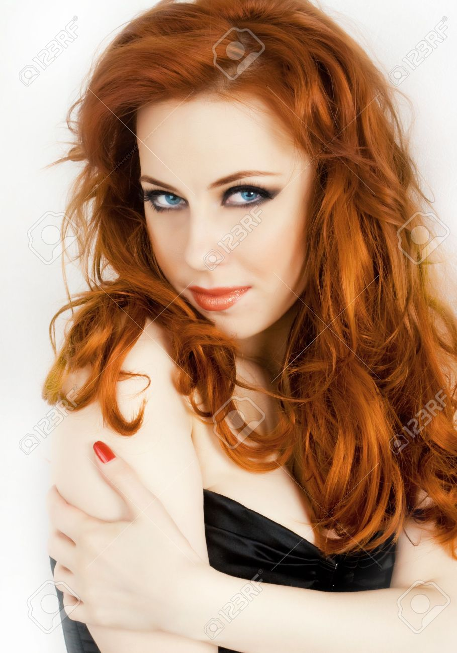 Sexy Redhead Beautiful Woman With Blue Eyes Isolated On White Stock Photo 4605074