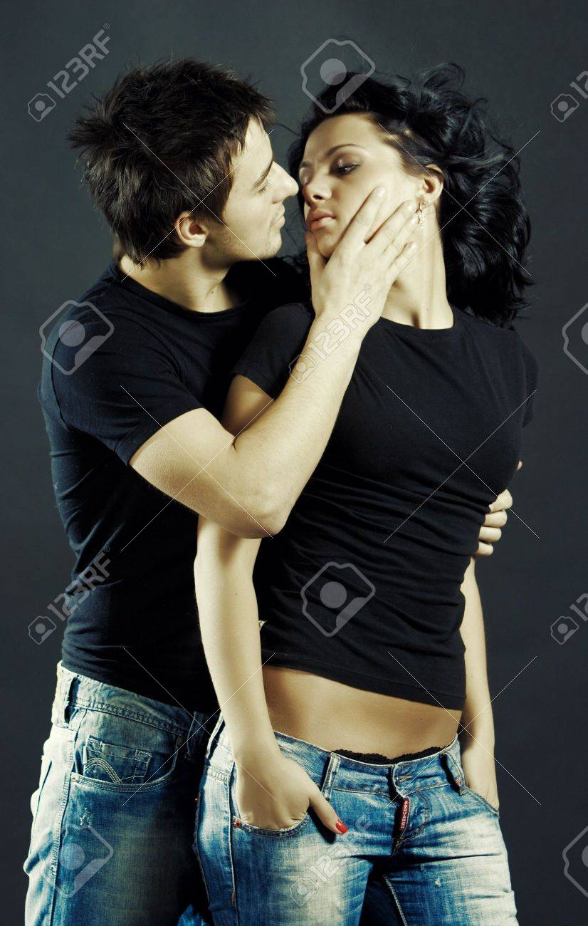 Beautiful loving couple studio shoot - 6462758