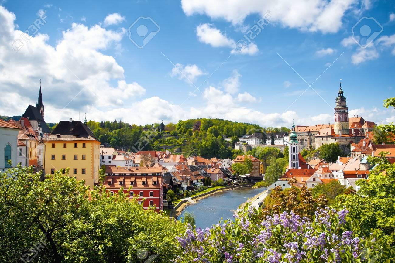 Beautiful view to tower of Cesky Krumlov, Czech republic - 36594631