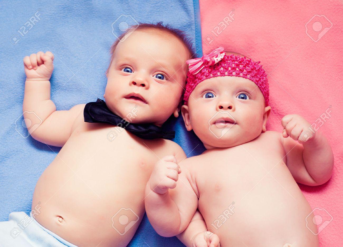 Newborn twins boy and girl Stock Photo - 47323759
