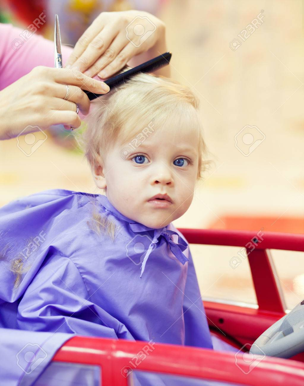 First Haircut Of Little Year Old Boy Stock Photo Picture And