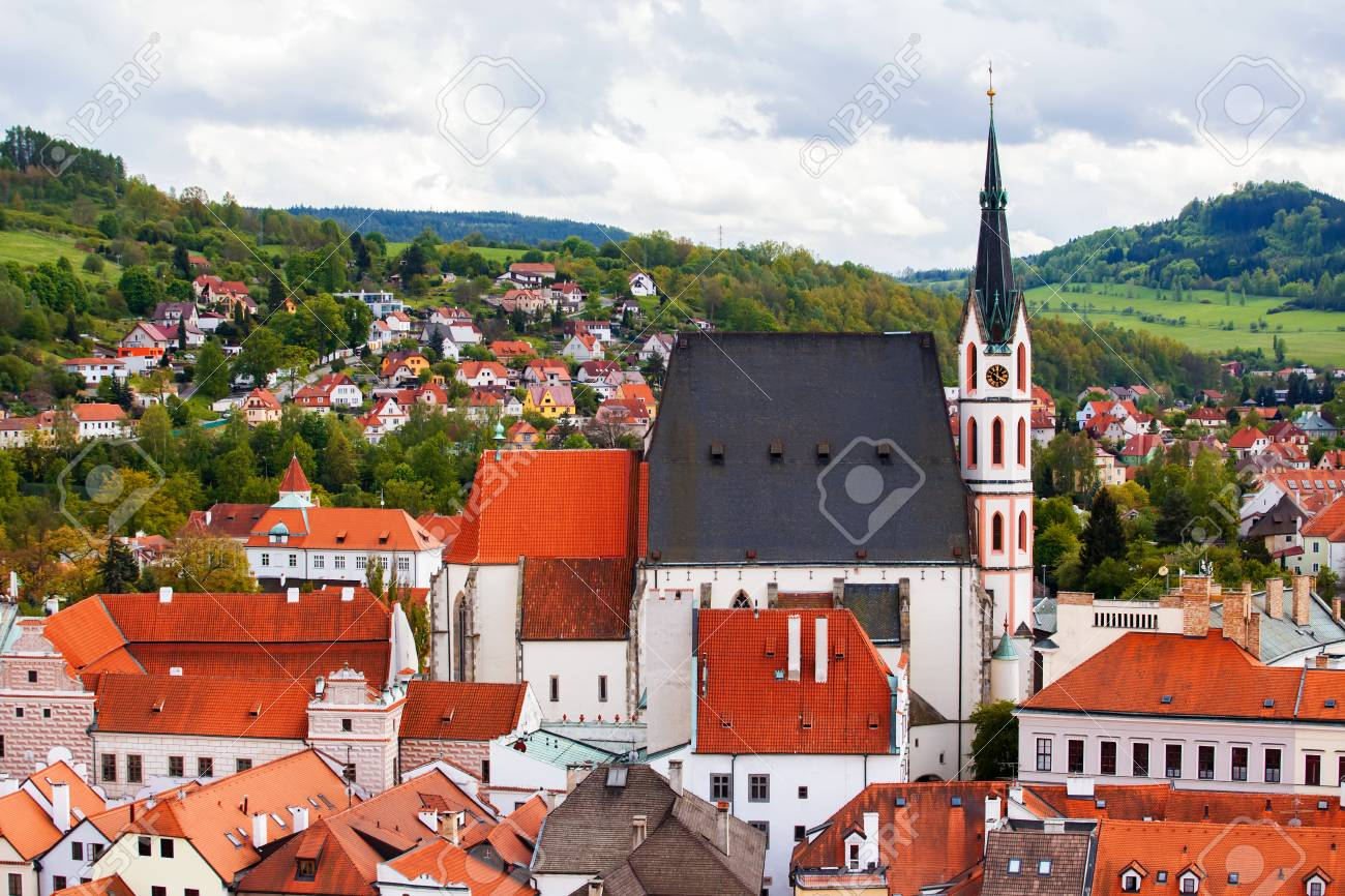 View To Cesky Krumlov And Saint Vitus Cathedral Czech Republic