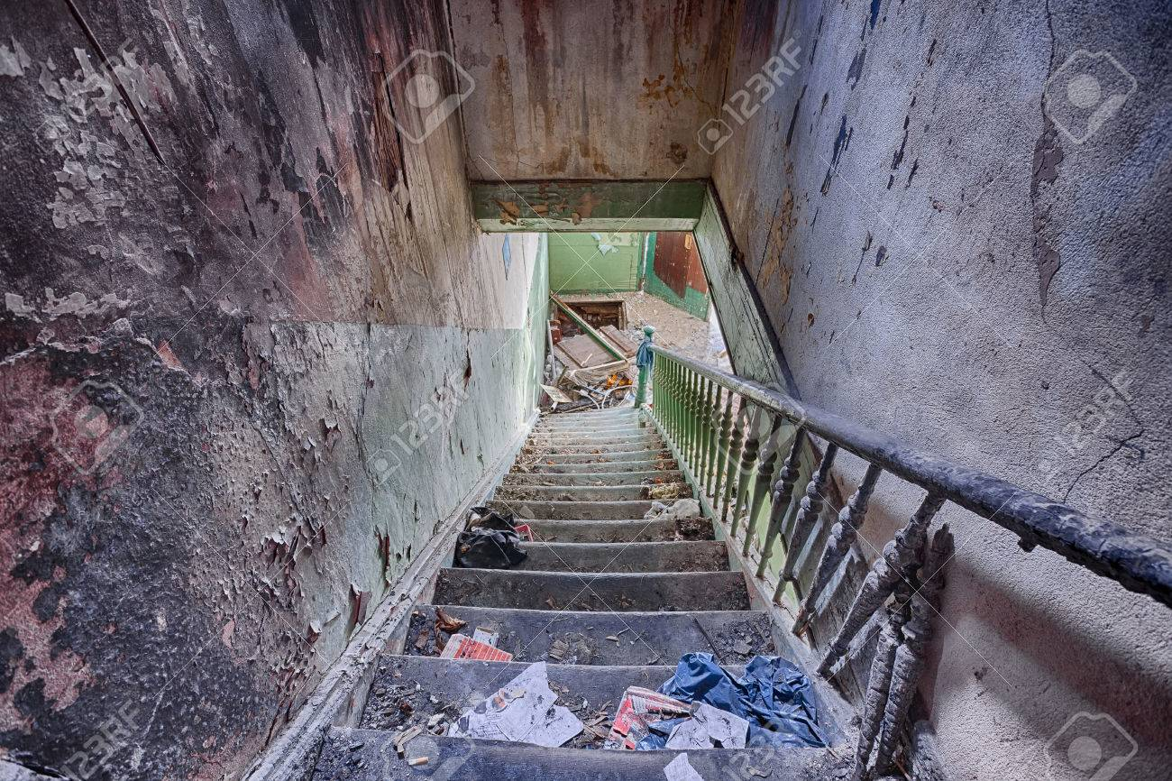 The Interior Of An Abandoned House   Stairs To The Attic Burned Stock Photo    25681839