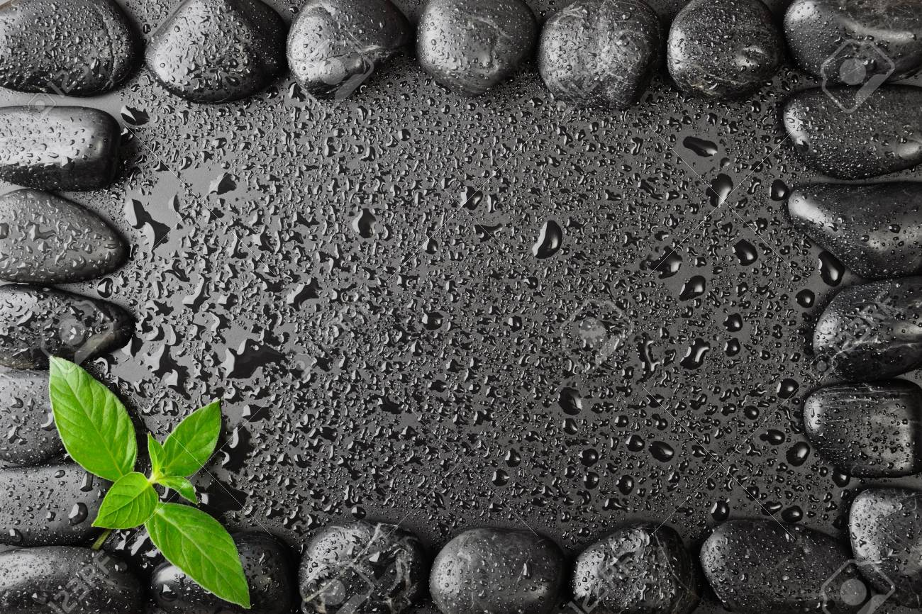 border made from black stones and leves Stock Photo - 7681437