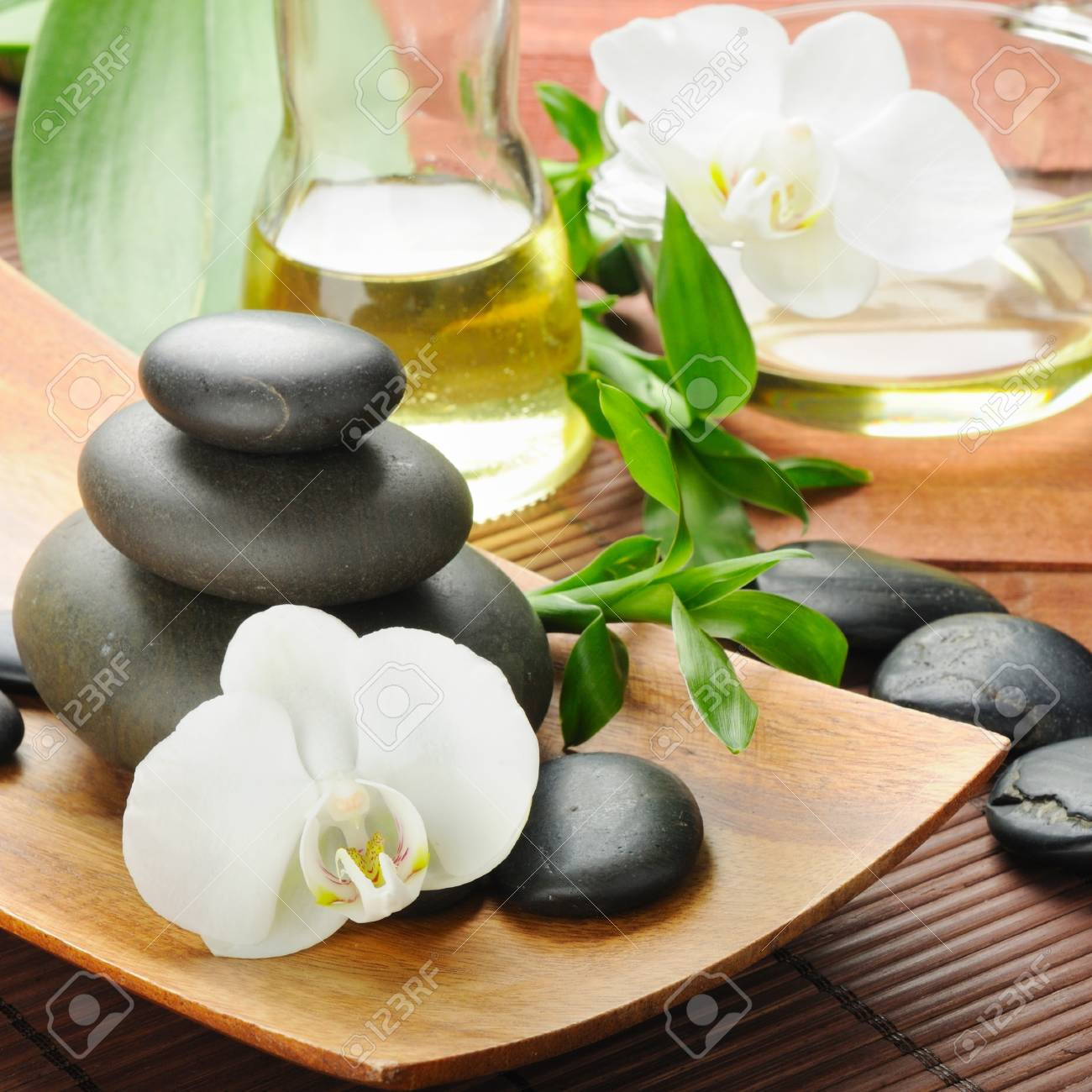 spa concept zen basalt stones and  orchid Stock Photo - 8786539