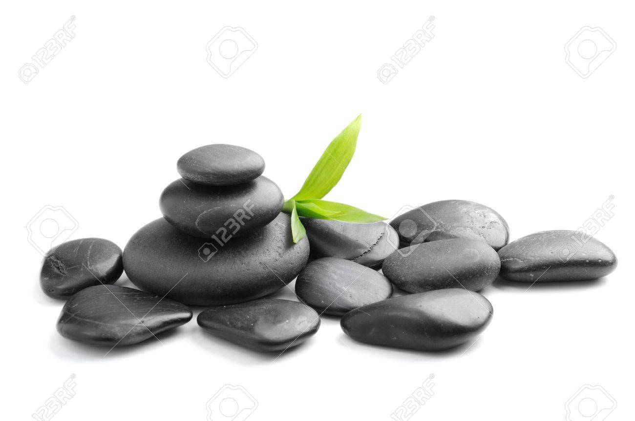 zen stones and  bamboo on the white background Stock Photo - 9184271