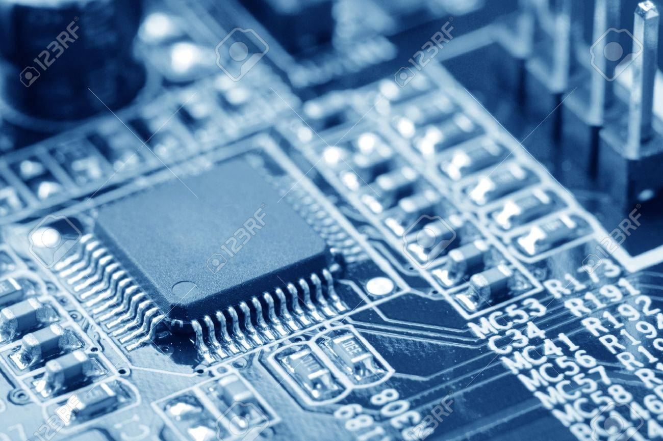 close-up of electronic circuit board with processor Stock Photo - 10099332