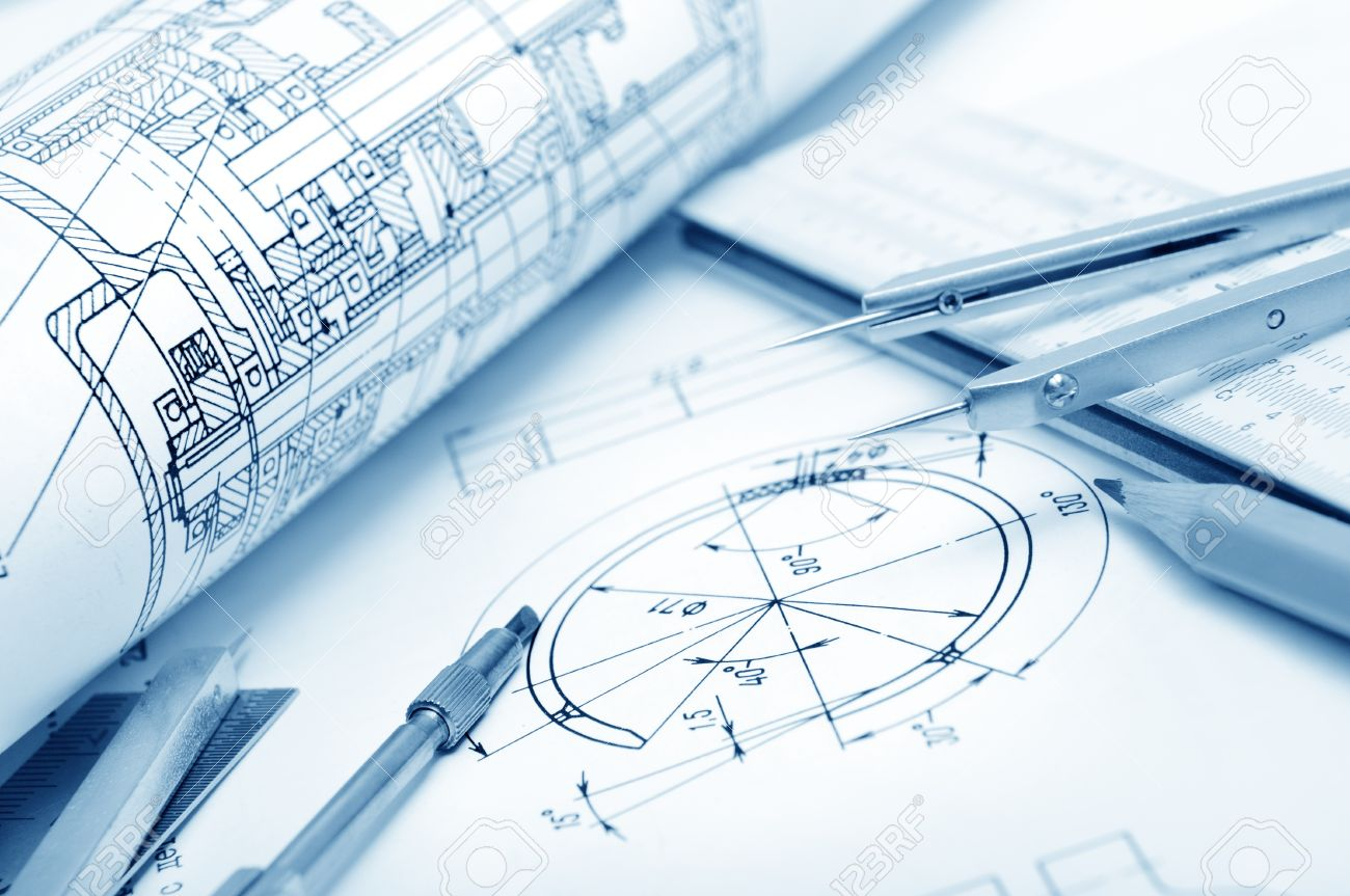industrial drawing detail and several drawing   tools Stock Photo - 11985894