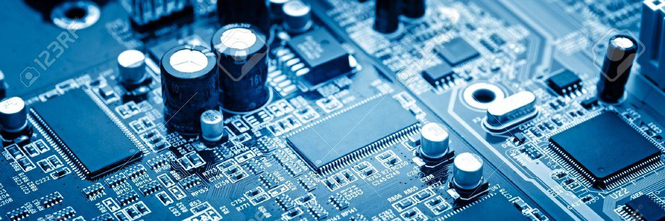 close-up of electronic circuit board with processor - 13614406