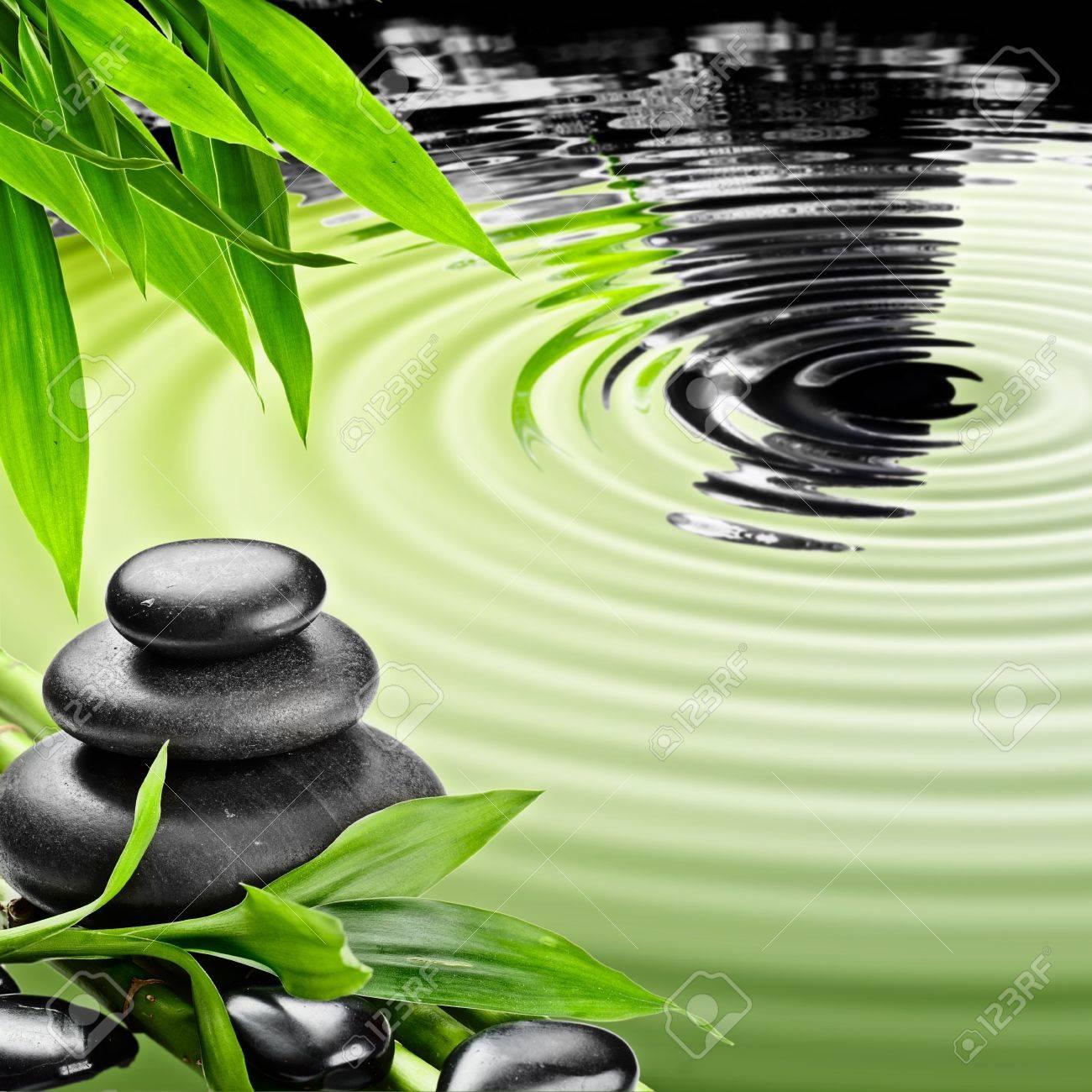 zen basalt stones and bamboo Stock Photo - 15931005