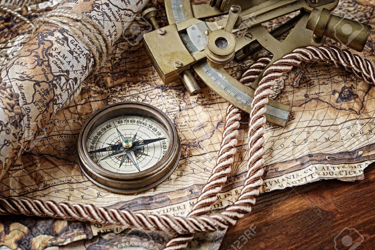 Vintage Still Life With Compass,sextant And Old Map Stock Photo ...